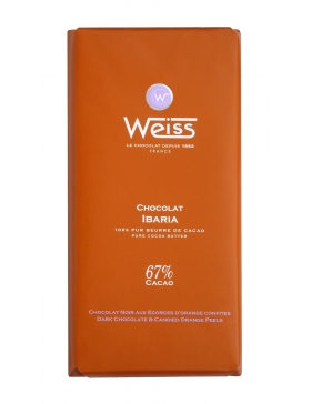 Tablette Weiss Chocolat Noir Ibaria Orange 67%